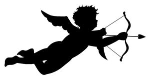 Cupid silhouette Royalty Free Stock Photos
