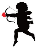 Cupid silhouette. Cupid with bow and arrow vector silhouette Royalty Free Stock Images