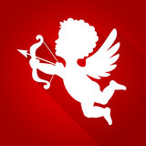 Cupid Silhouette with Long Shadow Royalty Free Stock Photos