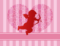 Cupid Silhouette with Polka Dots Heart Stock Image