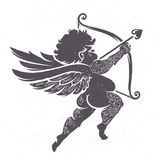 Cupid Silhouette with Tattoos Royalty Free Stock Photo
