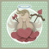 Cupid sit on heart love could on retro background, love concept Stock Images