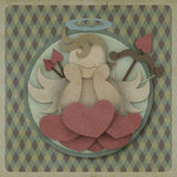 Cupid sit on heart love could on retro background, love concept Royalty Free Stock Photo