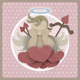 Cupid sit on heart love could on retro background, recycled pape Royalty Free Stock Images
