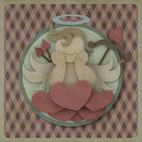 Cupid sit on heart love red could on retro background, love conc Royalty Free Stock Image