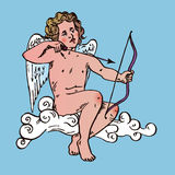 Cupid sitting on the cloud and shoots arrows from his bow Stock Photography