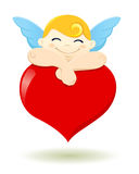 Cupid sleeping on a heart Royalty Free Stock Images