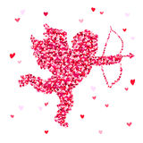 Cupid from small multi-colored hearts Stock Image