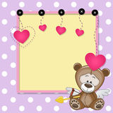 Cupid Teddy Bear with frame Royalty Free Stock Photo