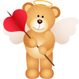 Cupid teddy bear with heart Royalty Free Stock Images
