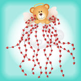 Cupid teddy bear with hearts background Royalty Free Stock Photo