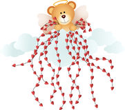 Cupid teddy bear with hearts Stock Images