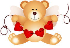 Cupid teddy bear holding string hearts Stock Images