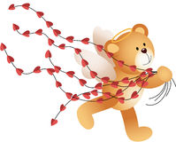 Cupid teddy bear running with heart Royalty Free Stock Images
