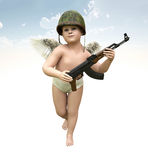 Cupid training day, 3d illustration Stock Image