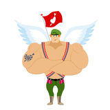 Cupid Troopers. Winged Landing. Military Angel Stock Photography