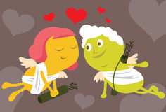 Cupid And Valentine Stock Photos