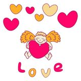 Cupid for Valentine's Day with a heart Stock Photography