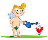 Cupid watering a flower. Stock Photography
