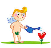 Cupid watering a flower. Royalty Free Stock Photos
