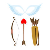 Cupid weapons set . Bow and arrow with heart. Quiver with arrows Stock Photography
