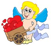 Cupid with wheelbarrow Royalty Free Stock Image