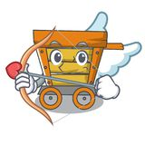 Cupid wooden trolley character cartoon. Vector illustration stock illustration