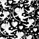 Cupidi con gli archi, le frecce ed i cuori, struttura senza cuciture royalty illustrazione gratis