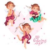 Cupidi svegli messi Cupidi adorabili del fumetto con le ali e gli archi Fotografia Stock