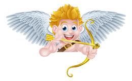 Cupido Angel Cartoon dei biglietti di S. Valentino Immagini Stock Libere da Diritti