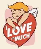Cupido bonito que abraça um coração com mensagem do amor, ilustração do vetor Fotografia de Stock