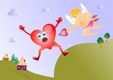 Cupido con la carta del cuore Fotografie Stock Libere da Diritti