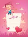 Cupido con la flecha Vector del día de tarjeta del día de San Valentín ilustración del vector