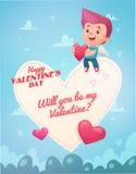 Cupido con la flecha Vector del día de tarjeta del día de San Valentín stock de ilustración