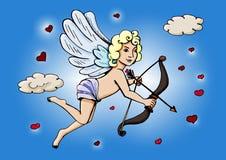 Cupido in de wolken met een boog en een pijl royalty-vrije illustratie