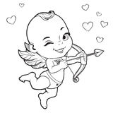 Cupido del bambino che spara un arco Immagine Stock