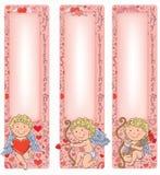 Cupido del día de tarjeta del día de San Valentín con las banderas verticales Imagen de archivo libre de regalías