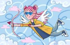 Cupido del ejemplo de la postal del día de tarjeta del día de San Valentín ilustración del vector