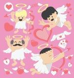 Cupido del fumetto di giorno di biglietti di S. Valentino Fotografie Stock Libere da Diritti