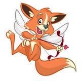 Cupido del zorro del vector Ejemplo de un cupido del zorro para el día de tarjeta del día de San Valentín del St Imagenes de archivo