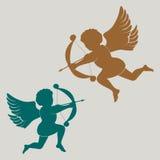 Cupido della siluetta con l'arco illustrazione di stock