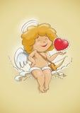 Cupido di angelo per il giorno di biglietti di S. Valentino Immagine Stock