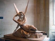 Cupido di marmo e psiche della scultura da Antonio Canova Fotografie Stock Libere da Diritti