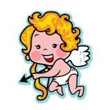 Cupido di San Valentino di biglietto di S. Valentino con l'arco e la freccia Immagini Stock Libere da Diritti