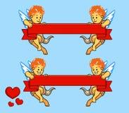 Cupido di volo ed insieme del nastro illustrazione di stock