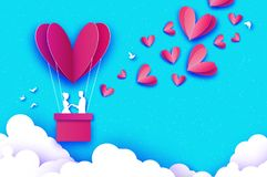 Cupido di volo - poco angelo Cuore rosa di amore nello stile del taglio della carta Ragazzo di origami - cherubino Volo rovente d royalty illustrazione gratis