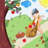 Cupido die een zak met veelkleurige harten slepen royalty-vrije illustratie