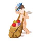Cupido die een zak met veelkleurige harten slepen Stock Fotografie