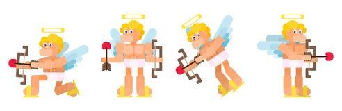 Cupido divertente piano messo nelle pose differenti illustrazione di stock