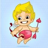 Cupido divertido con el arco y la flecha Ejemplo de un día de tarjeta del día de San Valentín Vector imagen de archivo libre de regalías